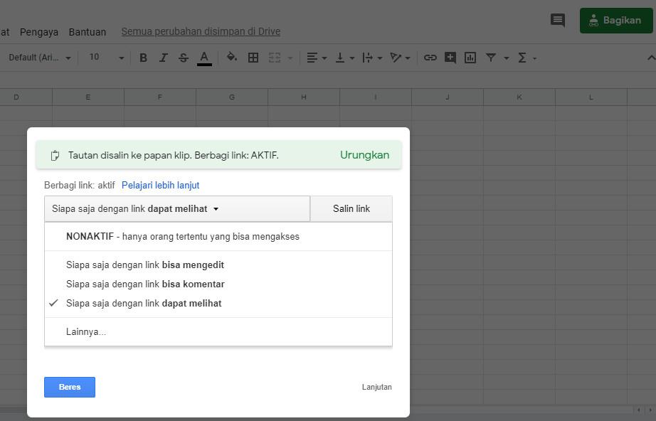 membagikan google spreadsheets
