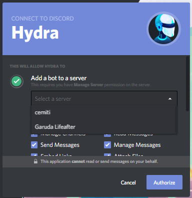 Memasukan Bot Discord