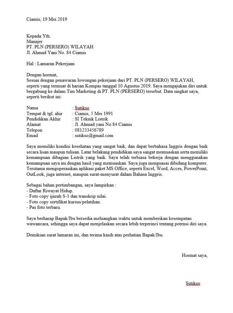 Doc Download Contoh Surat Lamaran Pekerjaan Terbaru Nekopencil