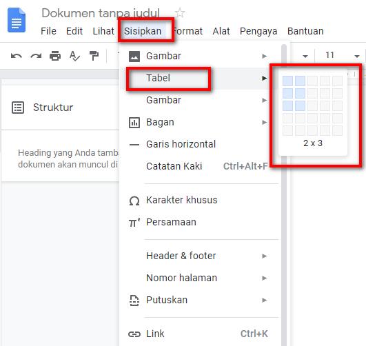 Cara Membuat Tabel Di Google Documents Docs Nekopencil