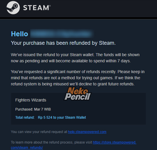 Your purchase has been refunded - steam
