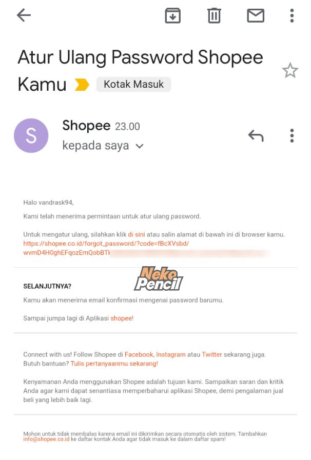atur password shopee via email