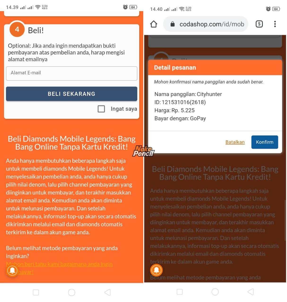 email dan detail pesanan
