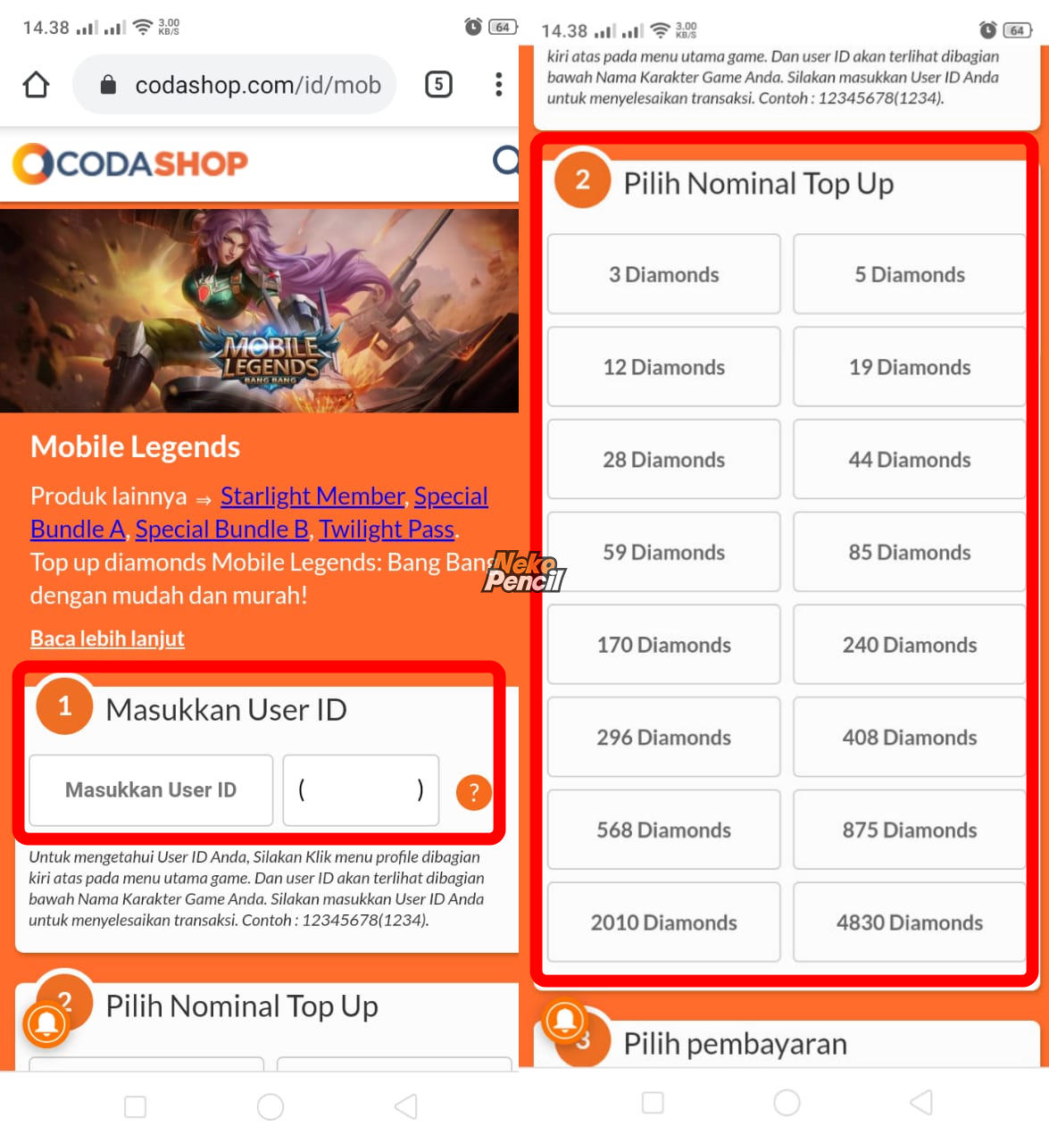 pilih nominal topup mobile legends codashop