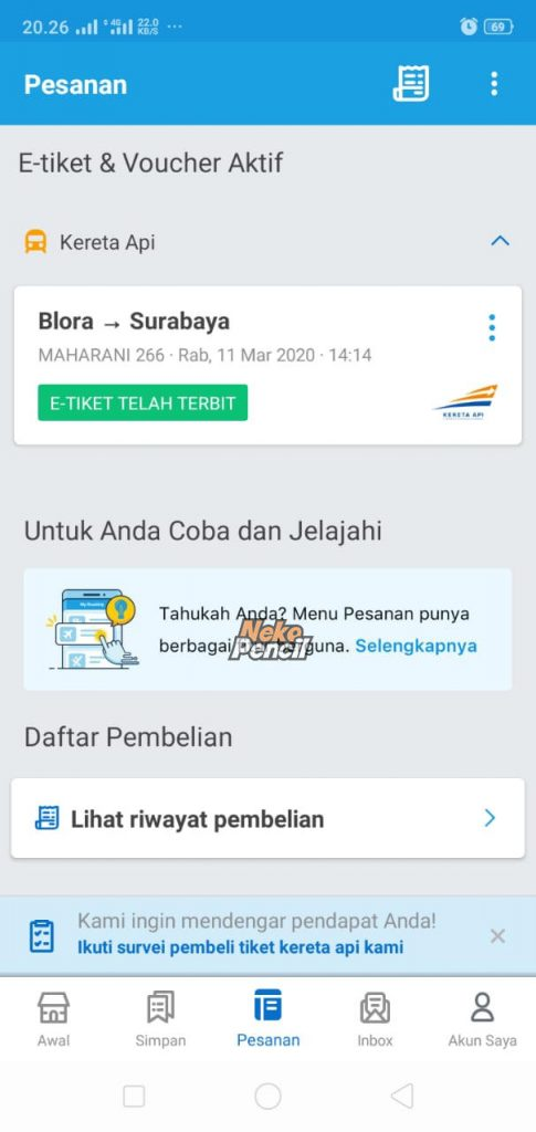 tiket pesanan traveloka