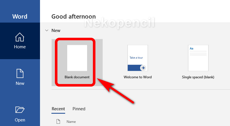 Blank document - microsoft word
